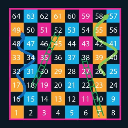 1-64 Solid Snakes & Ladders