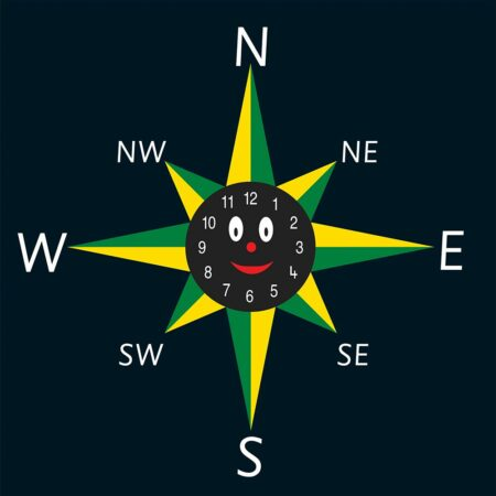 8 Point Smiley Face Compass Clock