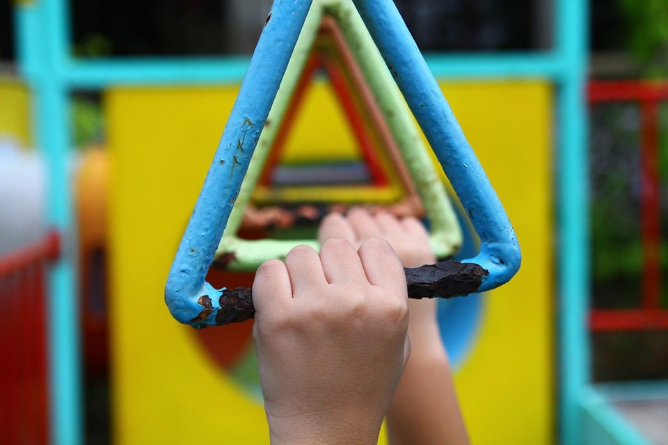 Child playing on the monkey bars