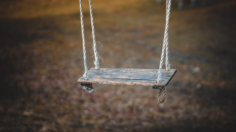 Empty swing in playground