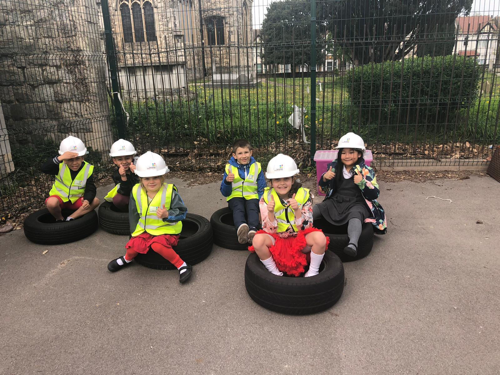 Children partaking in the installation process