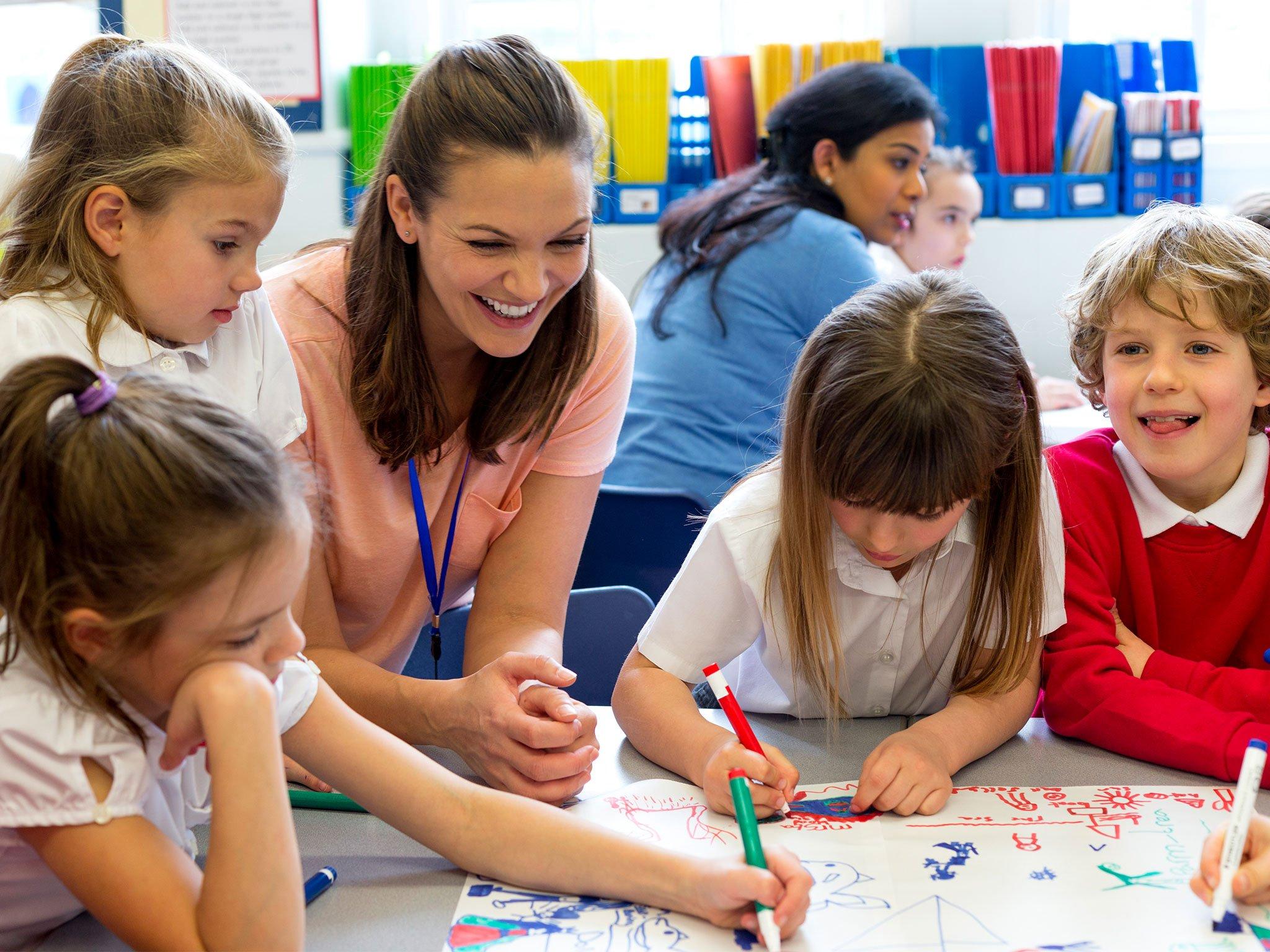 Children in a school lesson