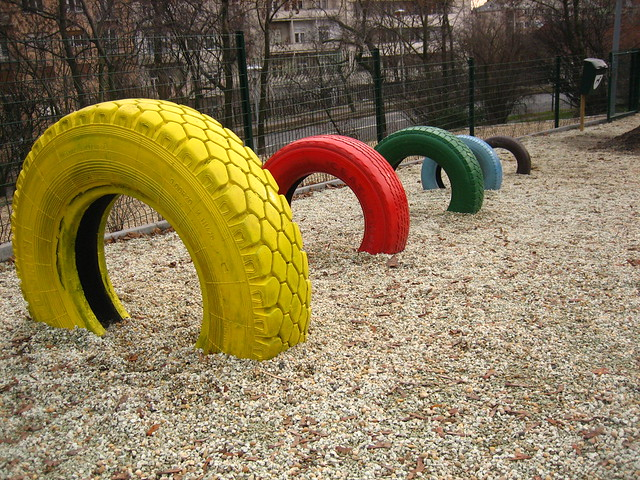 Colourful tyres in playground